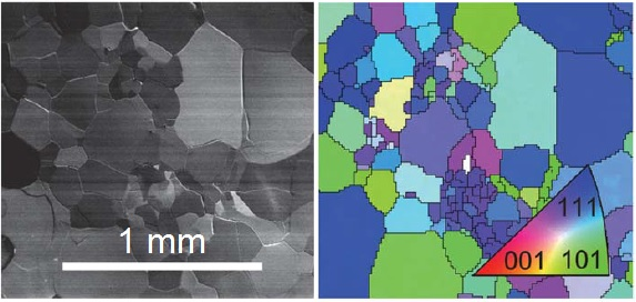 Scanning electron microscope image (left) and electron backscatter diffraction image (right) of polycrystalline cuprous oxide (CU2O) prepared by the thermal oxidation of copper foil.