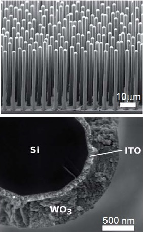 Scanning electron micrographs of (top) an array of a microwire-array device based on silicon microwires coated with tungsten oxide, and (bottom) a cross-sectional view of a single microwire in the array, showing the silicon core coated by transparent conductive oxide (ITO) and tungsten oxide shells.1