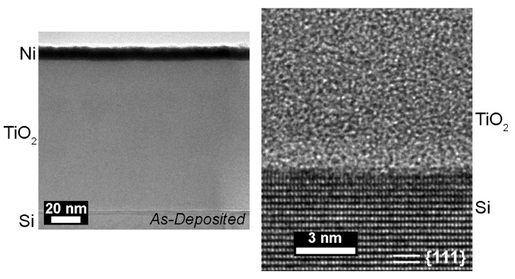 (left) Transmission electron micrograph (TEM) of silicon protected by a thick layer of amorphous titanium dioxide bearing a thin layer of nickel. (right) High-resolution TEM of the interface of silicon with the titanium dioxide coating.1